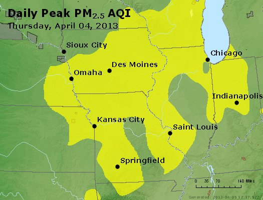 Peak Particles PM<sub>2.5</sub> (24-hour) - http://files.airnowtech.org/airnow/2013/20130404/peak_pm25_ia_il_mo.jpg