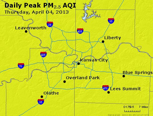 Peak Particles PM<sub>2.5</sub> (24-hour) - http://files.airnowtech.org/airnow/2013/20130404/peak_pm25_kansascity_mo.jpg