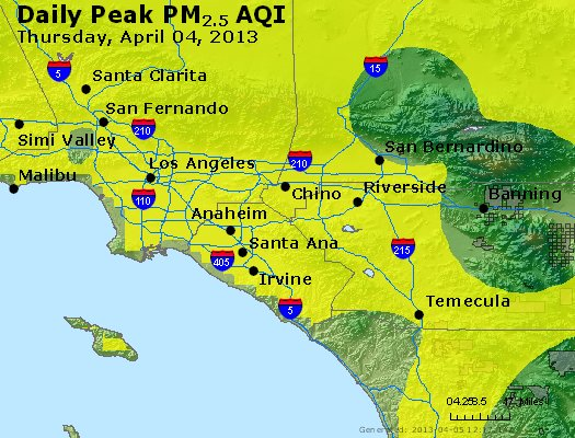 Peak Particles PM<sub>2.5</sub> (24-hour) - http://files.airnowtech.org/airnow/2013/20130404/peak_pm25_losangeles_ca.jpg