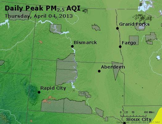 Peak Particles PM<sub>2.5</sub> (24-hour) - http://files.airnowtech.org/airnow/2013/20130404/peak_pm25_nd_sd.jpg