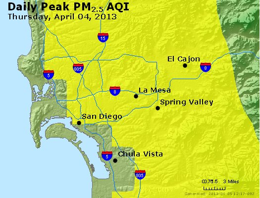 Peak Particles PM<sub>2.5</sub> (24-hour) - http://files.airnowtech.org/airnow/2013/20130404/peak_pm25_sandiego_ca.jpg