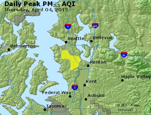 Peak Particles PM<sub>2.5</sub> (24-hour) - http://files.airnowtech.org/airnow/2013/20130404/peak_pm25_seattle_wa.jpg