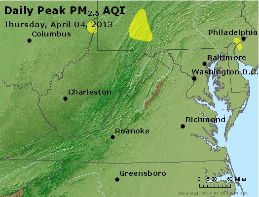 Peak Particles PM<sub>2.5</sub> (24-hour) - http://files.airnowtech.org/airnow/2013/20130404/peak_pm25_va_wv_md_de_dc.jpg