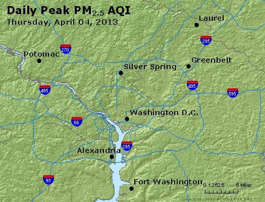 Peak Particles PM<sub>2.5</sub> (24-hour) - http://files.airnowtech.org/airnow/2013/20130404/peak_pm25_washington_dc.jpg