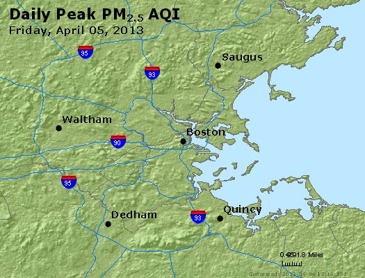 Peak Particles PM<sub>2.5</sub> (24-hour) - http://files.airnowtech.org/airnow/2013/20130405/peak_pm25_boston_ma.jpg