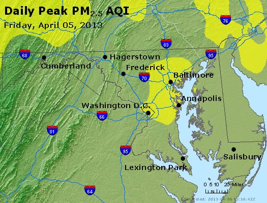 Peak Particles PM<sub>2.5</sub> (24-hour) - http://files.airnowtech.org/airnow/2013/20130405/peak_pm25_maryland.jpg