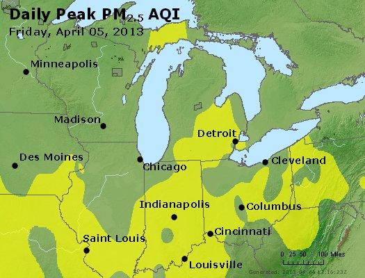Peak Particles PM<sub>2.5</sub> (24-hour) - http://files.airnowtech.org/airnow/2013/20130405/peak_pm25_mi_in_oh.jpg