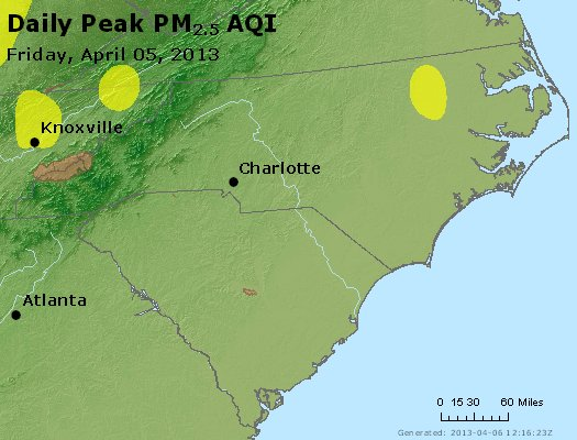 Peak Particles PM<sub>2.5</sub> (24-hour) - http://files.airnowtech.org/airnow/2013/20130405/peak_pm25_nc_sc.jpg