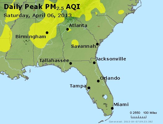 Peak Particles PM<sub>2.5</sub> (24-hour) - http://files.airnowtech.org/airnow/2013/20130406/peak_pm25_al_ga_fl.jpg