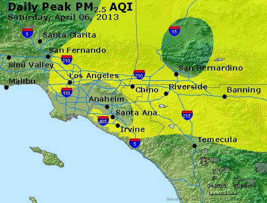 Peak Particles PM<sub>2.5</sub> (24-hour) - http://files.airnowtech.org/airnow/2013/20130406/peak_pm25_losangeles_ca.jpg