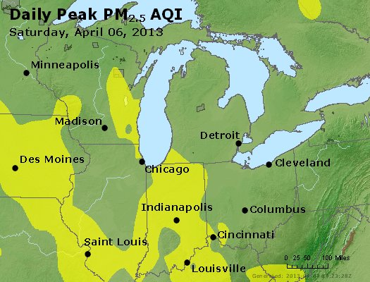Peak Particles PM<sub>2.5</sub> (24-hour) - http://files.airnowtech.org/airnow/2013/20130406/peak_pm25_mi_in_oh.jpg