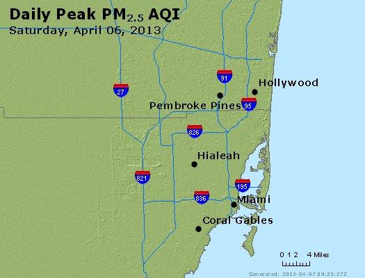 Peak Particles PM<sub>2.5</sub> (24-hour) - http://files.airnowtech.org/airnow/2013/20130406/peak_pm25_miami_fl.jpg
