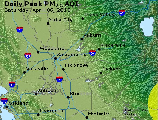 Peak Particles PM<sub>2.5</sub> (24-hour) - http://files.airnowtech.org/airnow/2013/20130406/peak_pm25_sacramento_ca.jpg