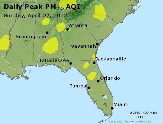 Peak Particles PM<sub>2.5</sub> (24-hour) - http://files.airnowtech.org/airnow/2013/20130407/peak_pm25_al_ga_fl.jpg
