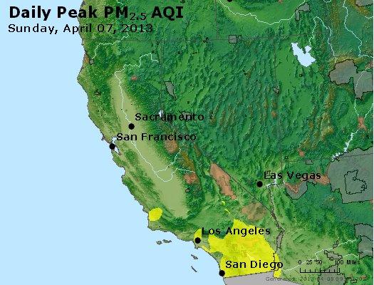 Peak Particles PM<sub>2.5</sub> (24-hour) - http://files.airnowtech.org/airnow/2013/20130407/peak_pm25_ca_nv.jpg