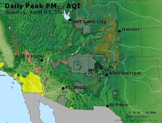 Peak Particles PM<sub>2.5</sub> (24-hour) - http://files.airnowtech.org/airnow/2013/20130407/peak_pm25_co_ut_az_nm.jpg