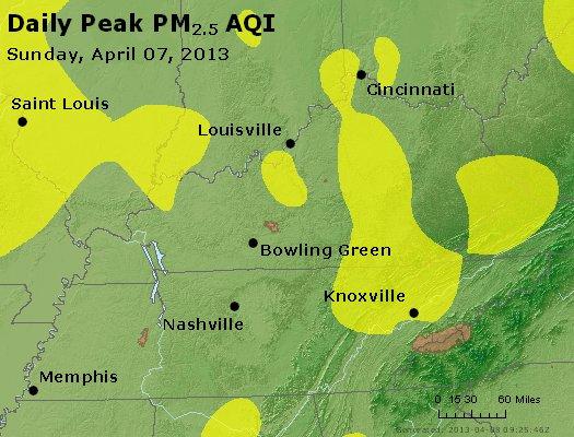 Peak Particles PM<sub>2.5</sub> (24-hour) - http://files.airnowtech.org/airnow/2013/20130407/peak_pm25_ky_tn.jpg