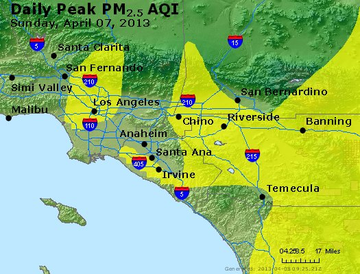 Peak Particles PM<sub>2.5</sub> (24-hour) - http://files.airnowtech.org/airnow/2013/20130407/peak_pm25_losangeles_ca.jpg