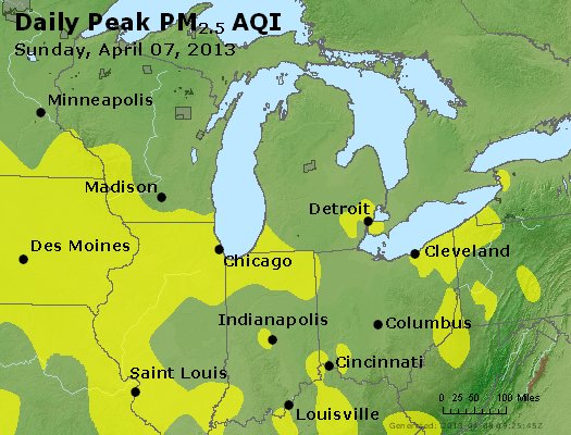 Peak Particles PM<sub>2.5</sub> (24-hour) - http://files.airnowtech.org/airnow/2013/20130407/peak_pm25_mi_in_oh.jpg