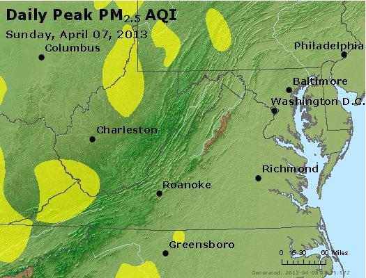 Peak Particles PM<sub>2.5</sub> (24-hour) - http://files.airnowtech.org/airnow/2013/20130407/peak_pm25_va_wv_md_de_dc.jpg