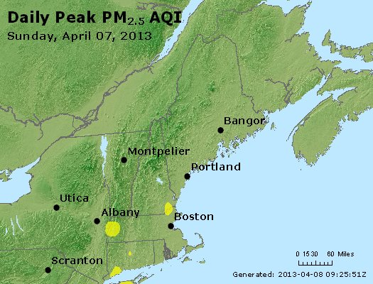 Peak Particles PM<sub>2.5</sub> (24-hour) - http://files.airnowtech.org/airnow/2013/20130407/peak_pm25_vt_nh_ma_ct_ri_me.jpg