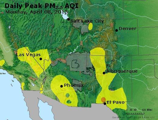 Peak Particles PM<sub>2.5</sub> (24-hour) - http://files.airnowtech.org/airnow/2013/20130408/peak_pm25_co_ut_az_nm.jpg