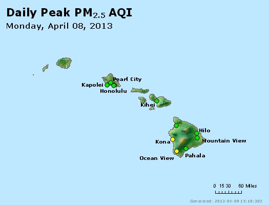 Peak Particles PM<sub>2.5</sub> (24-hour) - http://files.airnowtech.org/airnow/2013/20130408/peak_pm25_hawaii.jpg