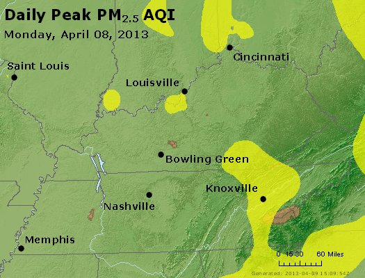 Peak Particles PM<sub>2.5</sub> (24-hour) - http://files.airnowtech.org/airnow/2013/20130408/peak_pm25_ky_tn.jpg