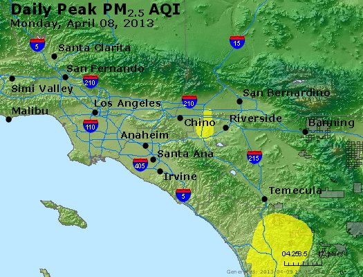 Peak Particles PM<sub>2.5</sub> (24-hour) - http://files.airnowtech.org/airnow/2013/20130408/peak_pm25_losangeles_ca.jpg