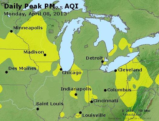 Peak Particles PM<sub>2.5</sub> (24-hour) - http://files.airnowtech.org/airnow/2013/20130408/peak_pm25_mi_in_oh.jpg