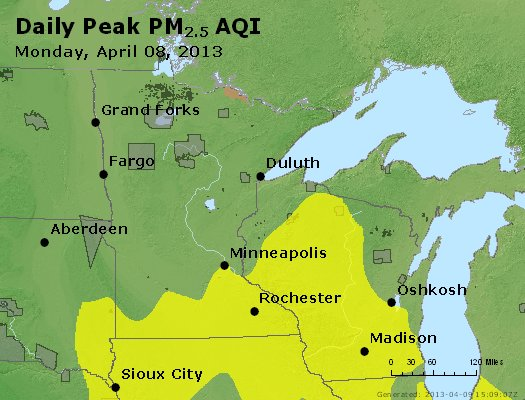 Peak Particles PM<sub>2.5</sub> (24-hour) - http://files.airnowtech.org/airnow/2013/20130408/peak_pm25_mn_wi.jpg