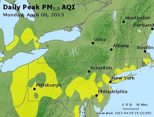 Peak Particles PM<sub>2.5</sub> (24-hour) - http://files.airnowtech.org/airnow/2013/20130408/peak_pm25_ny_pa_nj.jpg
