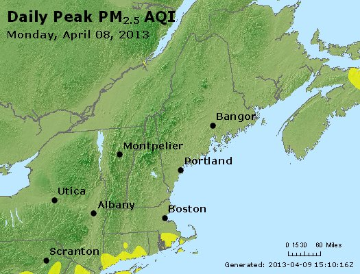 Peak Particles PM<sub>2.5</sub> (24-hour) - http://files.airnowtech.org/airnow/2013/20130408/peak_pm25_vt_nh_ma_ct_ri_me.jpg