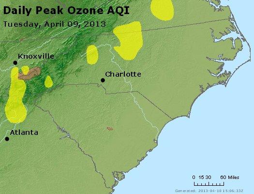 Peak Ozone (8-hour) - http://files.airnowtech.org/airnow/2013/20130409/peak_o3_nc_sc.jpg
