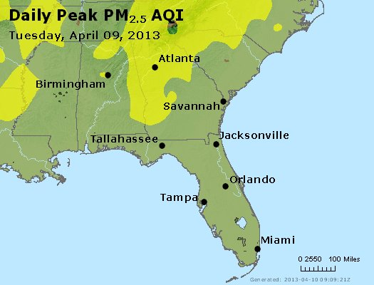 Peak Particles PM<sub>2.5</sub> (24-hour) - http://files.airnowtech.org/airnow/2013/20130409/peak_pm25_al_ga_fl.jpg