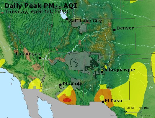 Peak Particles PM<sub>2.5</sub> (24-hour) - http://files.airnowtech.org/airnow/2013/20130409/peak_pm25_co_ut_az_nm.jpg
