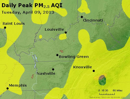 Peak Particles PM<sub>2.5</sub> (24-hour) - http://files.airnowtech.org/airnow/2013/20130409/peak_pm25_ky_tn.jpg
