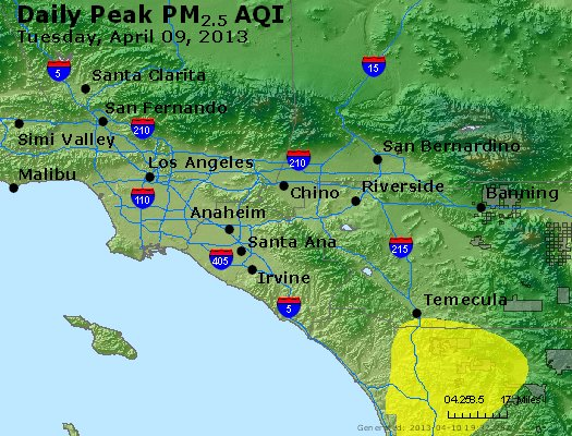 Peak Particles PM<sub>2.5</sub> (24-hour) - http://files.airnowtech.org/airnow/2013/20130409/peak_pm25_losangeles_ca.jpg