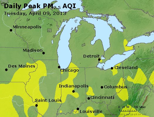 Peak Particles PM<sub>2.5</sub> (24-hour) - http://files.airnowtech.org/airnow/2013/20130409/peak_pm25_mi_in_oh.jpg