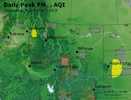 Peak Particles PM<sub>2.5</sub> (24-hour) - http://files.airnowtech.org/airnow/2013/20130409/peak_pm25_mt_id_wy.jpg