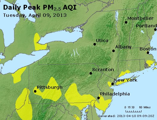 Peak Particles PM<sub>2.5</sub> (24-hour) - http://files.airnowtech.org/airnow/2013/20130409/peak_pm25_ny_pa_nj.jpg