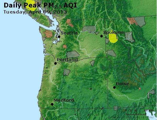 Peak Particles PM<sub>2.5</sub> (24-hour) - http://files.airnowtech.org/airnow/2013/20130409/peak_pm25_wa_or.jpg