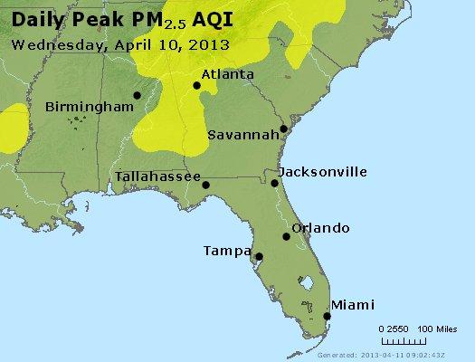 Peak Particles PM<sub>2.5</sub> (24-hour) - http://files.airnowtech.org/airnow/2013/20130410/peak_pm25_al_ga_fl.jpg