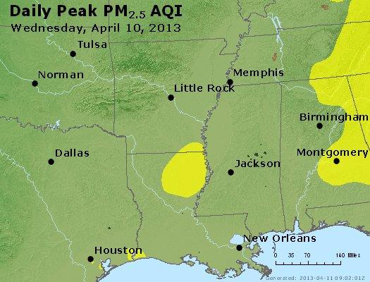 Peak Particles PM<sub>2.5</sub> (24-hour) - http://files.airnowtech.org/airnow/2013/20130410/peak_pm25_ar_la_ms.jpg