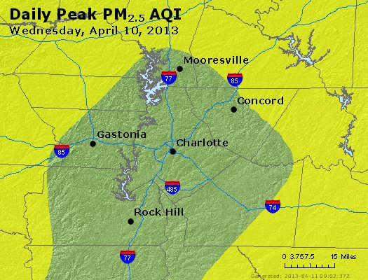 Peak Particles PM<sub>2.5</sub> (24-hour) - http://files.airnowtech.org/airnow/2013/20130410/peak_pm25_charlotte_nc.jpg