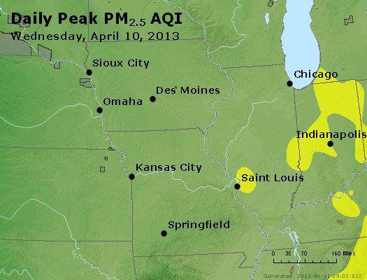 Peak Particles PM<sub>2.5</sub> (24-hour) - http://files.airnowtech.org/airnow/2013/20130410/peak_pm25_ia_il_mo.jpg
