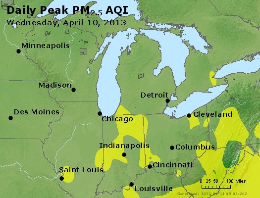 Peak Particles PM<sub>2.5</sub> (24-hour) - http://files.airnowtech.org/airnow/2013/20130410/peak_pm25_mi_in_oh.jpg