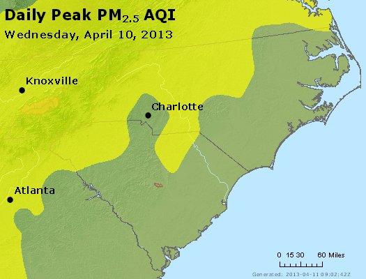 Peak Particles PM<sub>2.5</sub> (24-hour) - http://files.airnowtech.org/airnow/2013/20130410/peak_pm25_nc_sc.jpg
