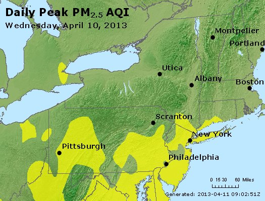 Peak Particles PM<sub>2.5</sub> (24-hour) - http://files.airnowtech.org/airnow/2013/20130410/peak_pm25_ny_pa_nj.jpg