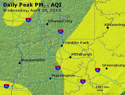 Peak Particles PM<sub>2.5</sub> (24-hour) - http://files.airnowtech.org/airnow/2013/20130410/peak_pm25_pittsburgh_pa.jpg